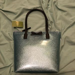 New with Tags Kate Spade blue glitter handbag